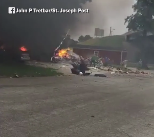 Three people were injured and a home destroyed following an explosion in St. Joseph Tuesday.