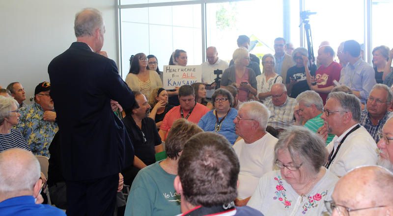 U.S. Sen. Jerry Moran, a Kansas Republican, did not comment publicly Thursday after Senate leaders released a revised version of a bill to repeal and replace the Affordable Care Act. Moran spoke to a crowded town hall meeting last week in Palco.