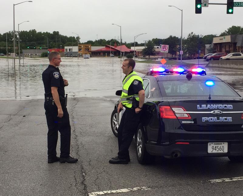 The area near 103rd and State Line Road was closed for part of the morning due to flooding.