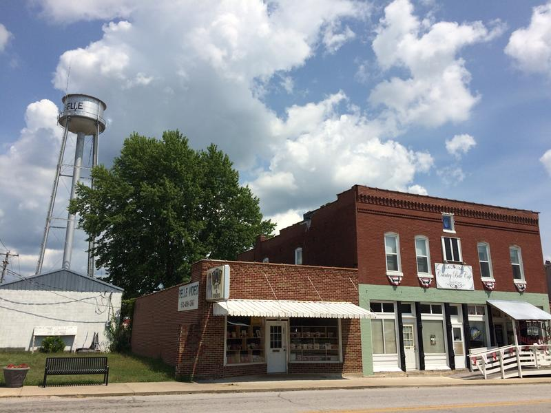 Belle, Missouri's small historic downtown includes a bookstore and a Greek restaurant, businesses that stand to benefit from touring cyclists.