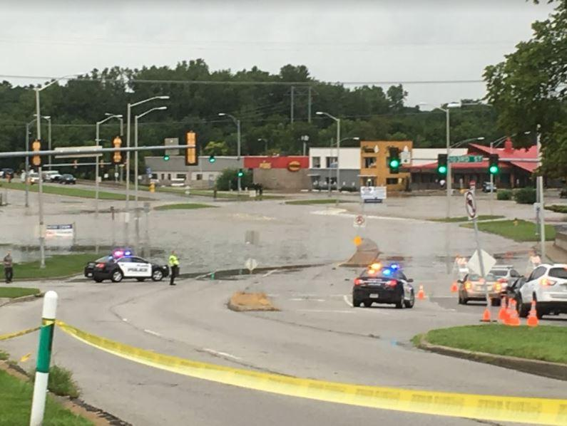 The view looking south from 102nd Street and State Line Road Thursday morning. Police had cordoned off 103rd Street due to flooding.