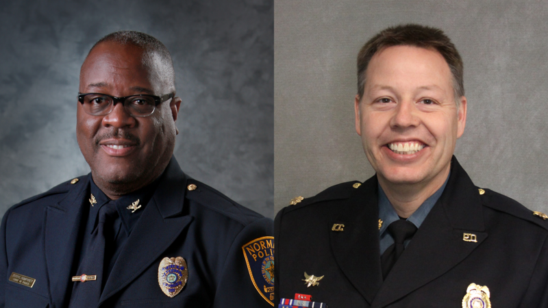 Chief Keith Humphrey (left) of the Norman, Oklahoma, Police Department and Major Rick Smith of the Kansas City Police Department are the two finalists to take over as KCPD chief.