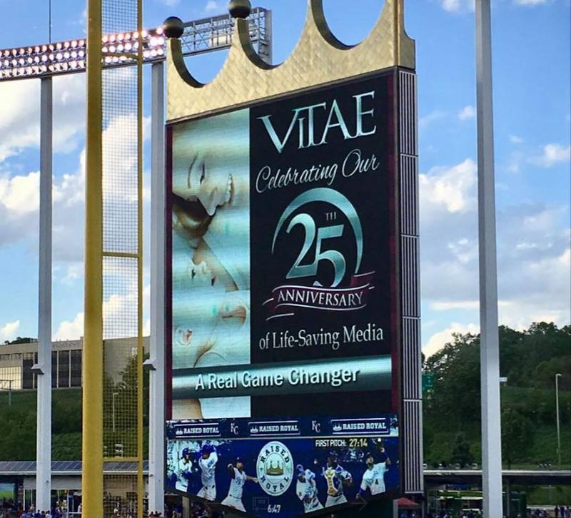 The Vitae Foundation's ads appear on the Royals Jumbotron before every game at Kauffman Stadium.