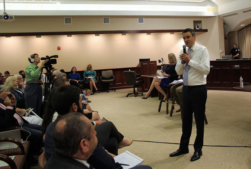 Congressman Kevin Yoder, a Republican who represents Kansas' 3rd District, participated in his first in-person town hall meeting since last year's election. The meeting Tuesday at Olathe City Hall was hosted by the Kansas City Star.