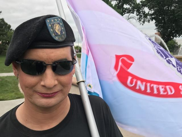 Michelle Daytona transitioned after leaving the military. She was one of hundreds who rallied in support of transgender Americans after President Donald Trump tweeted that he would reinstate a ban on transgender military personnel.