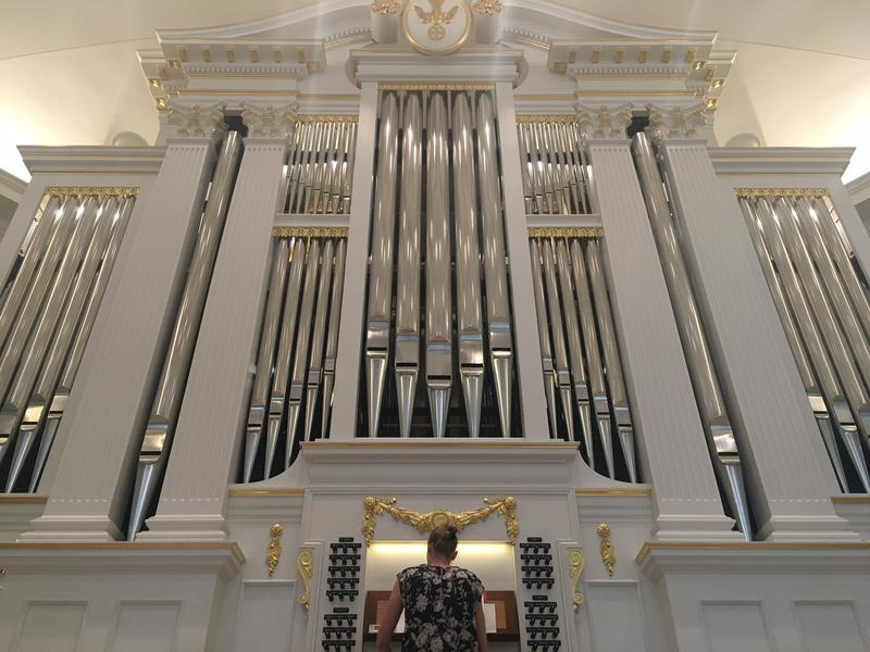 Elisa Bickers plays Opus 22, the new pipe organ at Village Presbyterian Church. It has 3,600 pipes and is 24 feet tall.