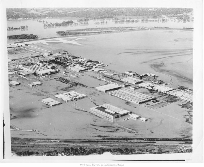 Flood-control efforts in Kansas City have improved since the historic 1951 flood. Pictured here are the Fairfax Industrial District and the airport that year.