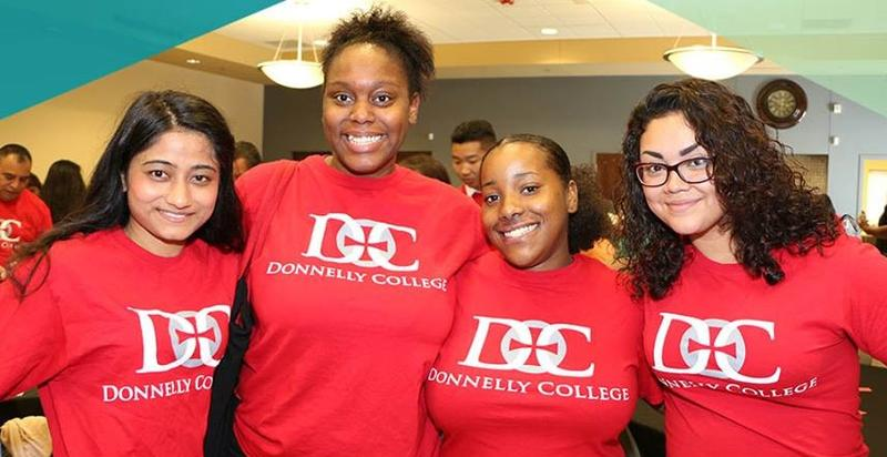 Students pictured on Donnelly College's Facebook page in July 2017, with the message: 'Most people could use some tips for success and words of advice. What #WordsOf Wisdom do you have for the new Donnelly students entering college this fall?'