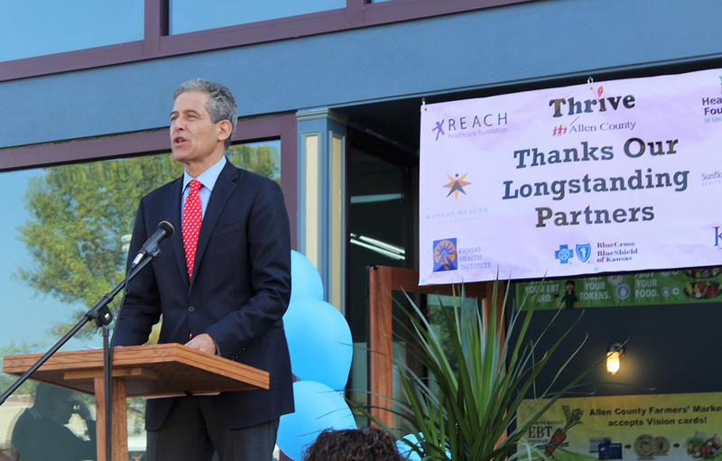 Richard Besser, president and CEO of the Robert Wood Johnson Foundation, speaks Tuesday in Iola during a ceremony honoring the community's health-improvement efforts. Allen County was one of eight selected for the national honor this year.