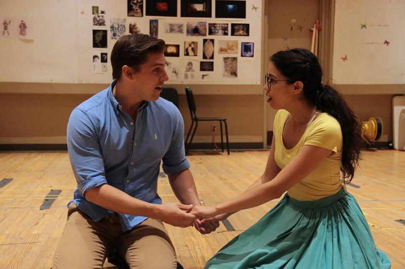 Kurt Hansen (as Prince Oliver) and Arielle Jacobs (as Delilah) in rehearsals of 'Between the Lines' at the Kansas City Repertory Theatre.