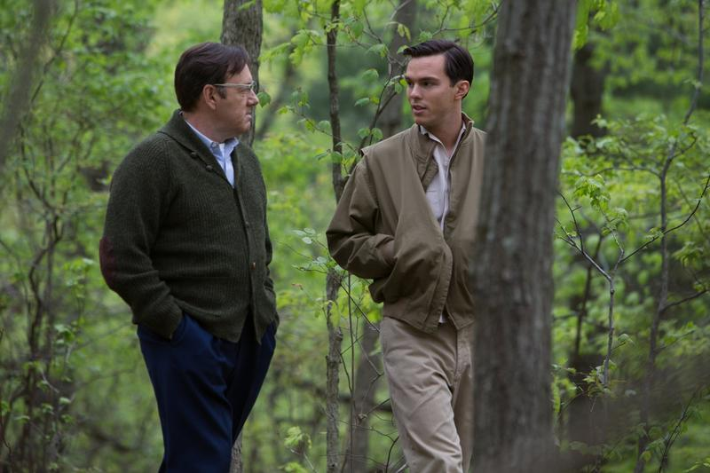 'Rebel in the Rye' explores the life of J.D. Salinger, played by Nicholas Hoult, shown here talking with Whit Burnett, played by Kevin Spacey.