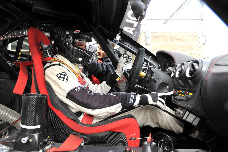 Scott Tucker in a Ferrari F430 he drove as part of his company Level 5 Motorsports