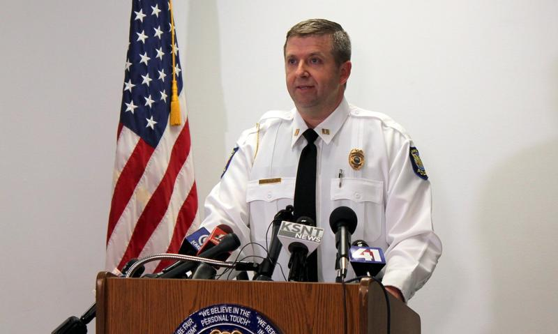Lawrence Police Captain Adam Heffley speaks at a news conference Tuesday in Lawrence about two arrests made in connection with deadly shootings Oct. 1 in downtown Lawrence.