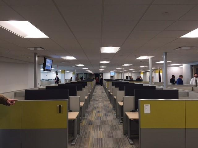 Work spaces await new employees at the OptumRX facility in Overland Park.