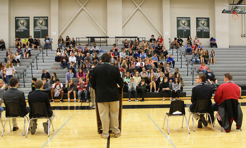 The four teenagers running for Kansas governor faced questions from students at Lawrence Free State High School during a Thursday forum.