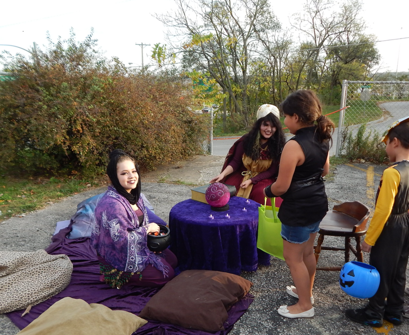 Volunteer actors at one of the Alcott Arts Center's previous Halloween celebrations.
