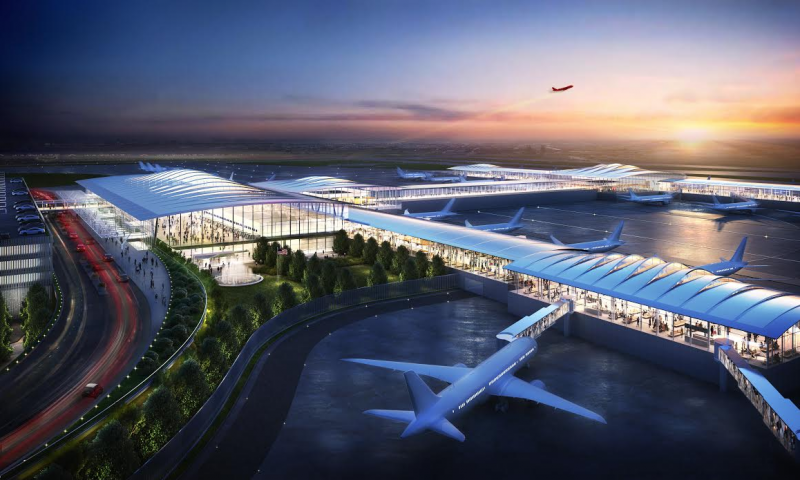 A rendering showing a multi-level, single-terminal Kansas City International Airport with green boulevards.