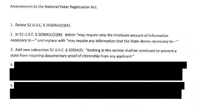 A redacted document unsealed earlier in October shows how Kansas Secretary of State Kris Kobach proposes amending the federal motor voter law to allow ...