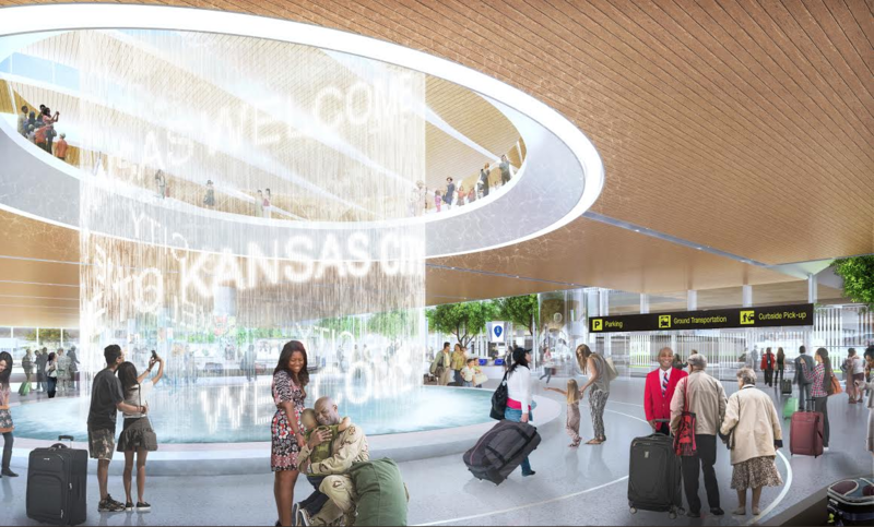 A rendering of a fountain that could be part of a new KCI terminal.