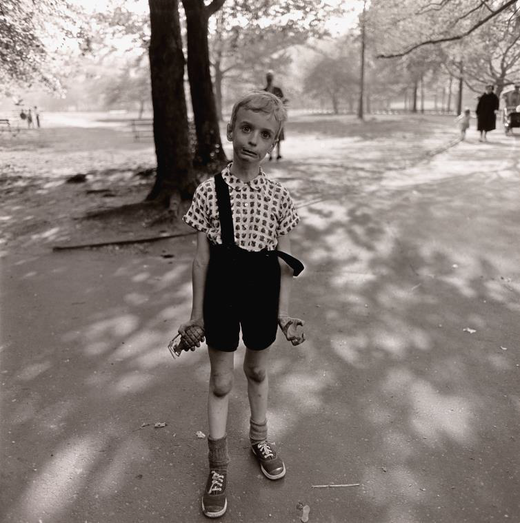 'Child with a toy hand grenade in Central Park,' taken by Diane Arbus in 1962 and printed by Neil Selkirk in 1973, is among 800 photographs acquired by The Nelson-Atkins Museum of Art with a $10 million gift from the Hall Family Foundation.
