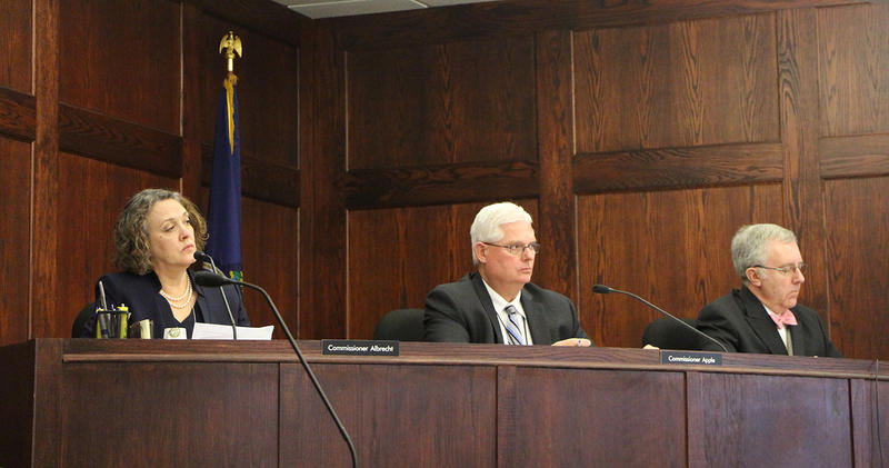 Kansas Corporation Commission members, from left, Shari Albrecht, Pat Apple and Jay Emler announced an investigation Tuesday of oil wastewater well permits issued since late 2008.