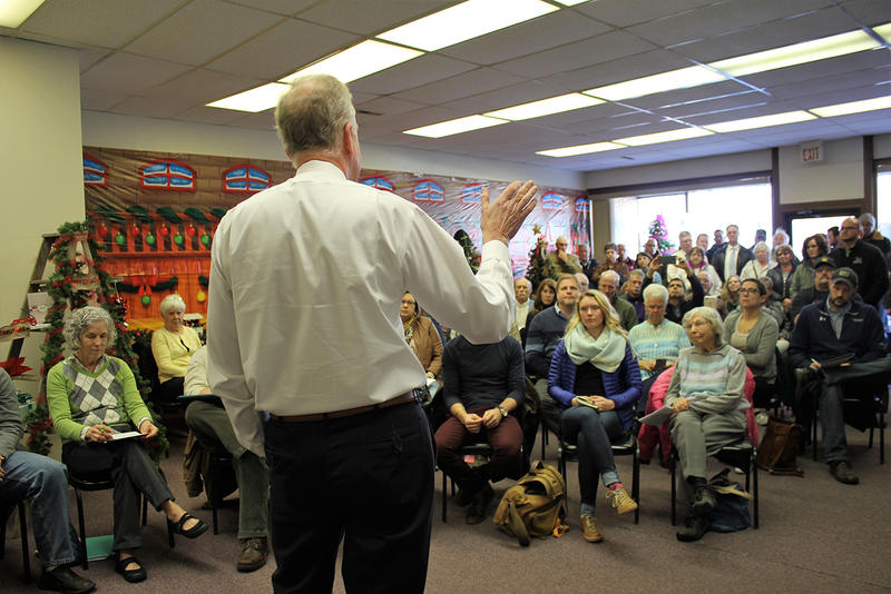 U.S. Sen. Jerry Moran, a Kansas Republican, discusses the tax cut bill with a crowd of about 100 people Wednesday in Frankfort, a north-central Kansas town.