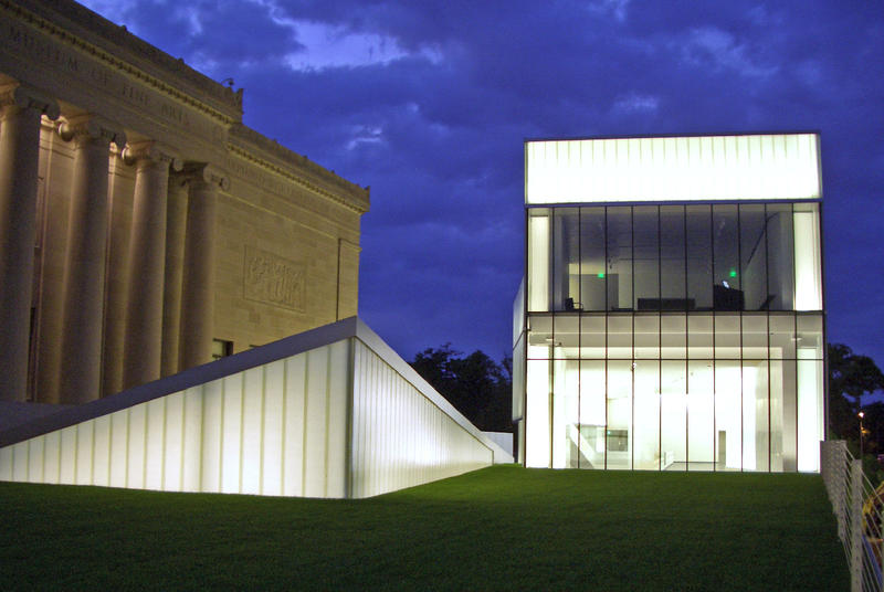 The Nelson-Atkins Museum campus with an illuminated Bloch Building on right.