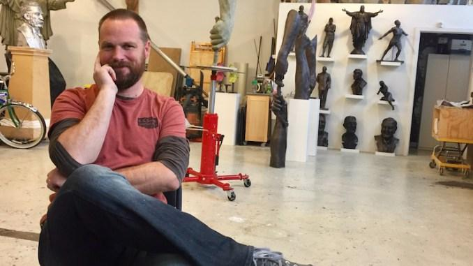 Sculptor Spencer Schubert at his studio. He has proposed a replacement sculpture where a Confederate memorial once stood on Ward Parkway.