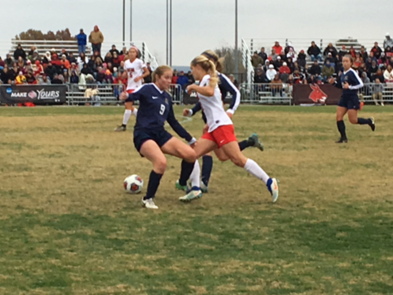 The University of Central Missouri's women's soccer team during one of their games in their unbeaten season.