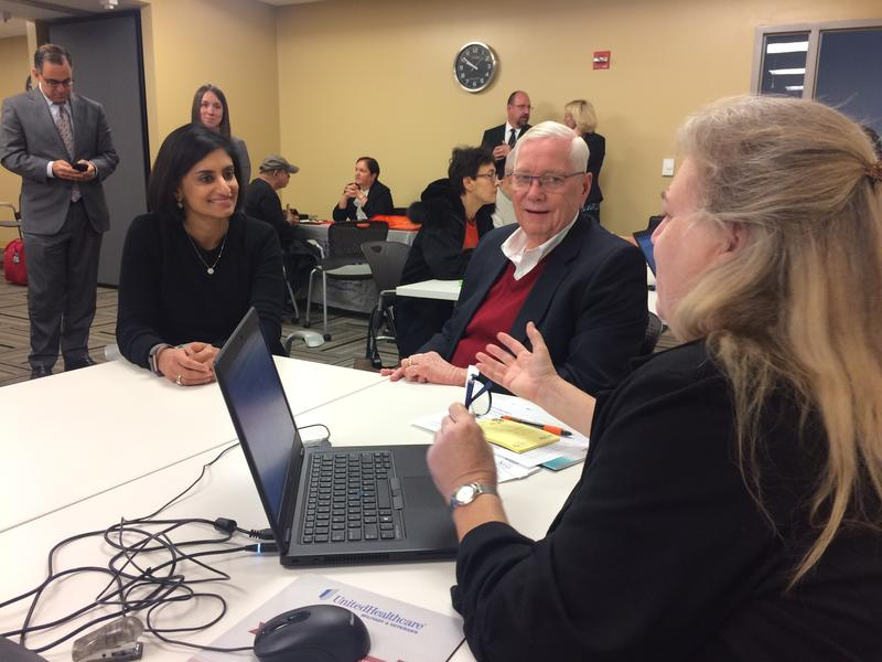 Seema Verma (left), administrator for the Centers for Medicare and Medicaid, observed a Medicare enrollment session in Olathe, Kansas.