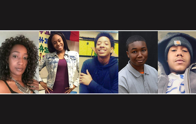 Left to right: Natasha Hays, Brannae Browne, Le'Andrew Vaughn, Adarius Barber, Brandon Browne. All victims of a string of homicides in Kansas City, Kansas.