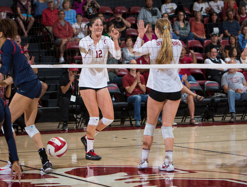 The Stanford tandem of Jenna Gray (L) and Audrianna Fitzmorris (R) from St. James Academy are in their sophomore seasons for the defending national champion in NCAA women's volleyball.