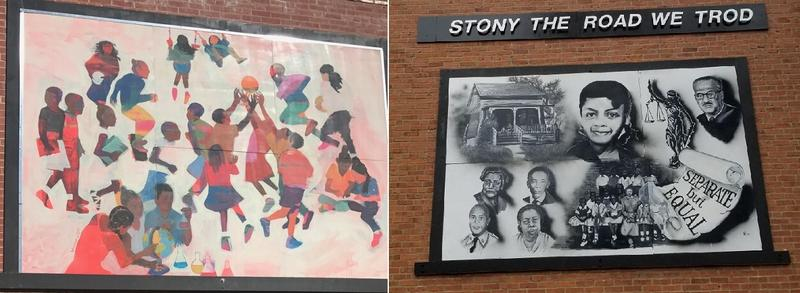 Two new outdoor murals installed on the exterior walls of the Garrison School Cultural Center depict historical milestones of African American education in Liberty.
