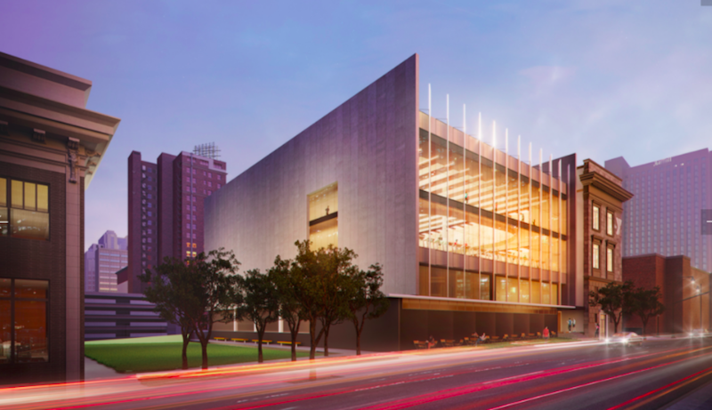 A rendering of the planned YMCA addition behind the Lyric Theater in downtown Kansas City.