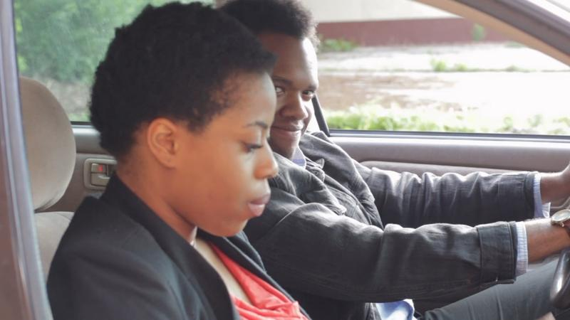 Ogechi Ofodu and Teddy Trice in Lyn Elliot's 'How to Drive in Snow,' part of 'Lessons from Exes.'