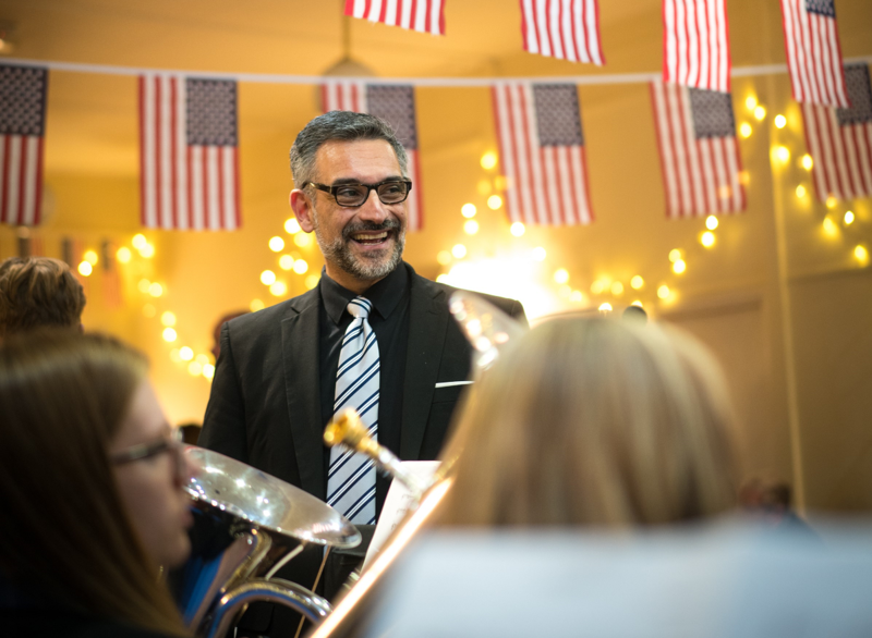 Joe Parisi, music director and conductor of the Fountain City Brass Band, at the Dobcross Silver Band's facility.