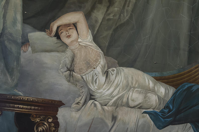 'As you can see, it doesn't cover much,' Ron Potter, president of the Vaile Victorian Society, says of the negligee worn by the character on Sophia Vaile's bedroom ceiling.