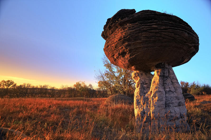 This hoodoo in central Kansas forms the centerpiece of the aptly-named Mushroom Rock State Park. It's the smallest of Kansas' 26 state parks.