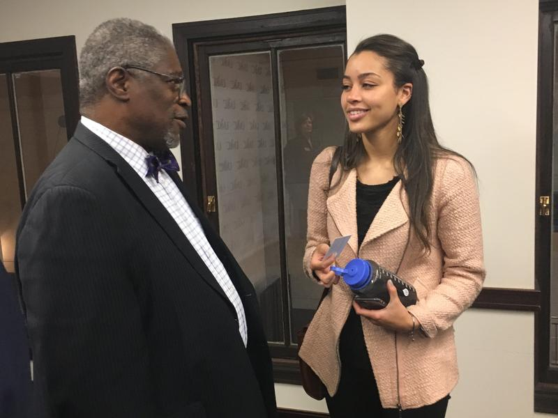 Mayor Sly James encourages UMKC senior Imon Stevenson, a computer science major, to stay in Kansas City after graduation. James also encouraged Stevenson to become a mentor to other women of color interested in pursuing technology degrees.