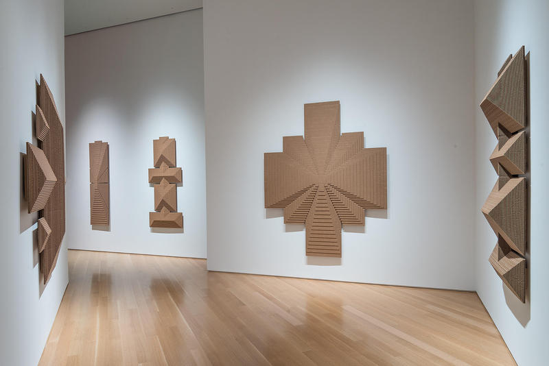 Five of the sculptures in May Tveit's 'Universal Boxes' at the Nerman Museum of Contemporary Art, left to right: 'Me & You,' 'The Well,' 'The Road,' 'Say Yes,' and 'Purgatory.'