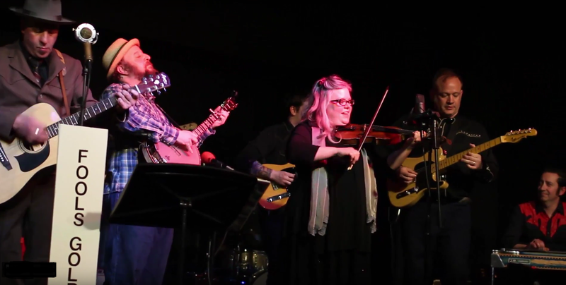 Performers in the Fool's Gold Country Revue performing Johnny Cash's 'Ring of Fire' in April 2017.