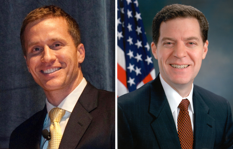 Missouri Gov. Eric Greitens (left) has introduced a tax plan that has shades of that enacted by Kansas Gov. Sam Brownback in 2012, but some differences, too.