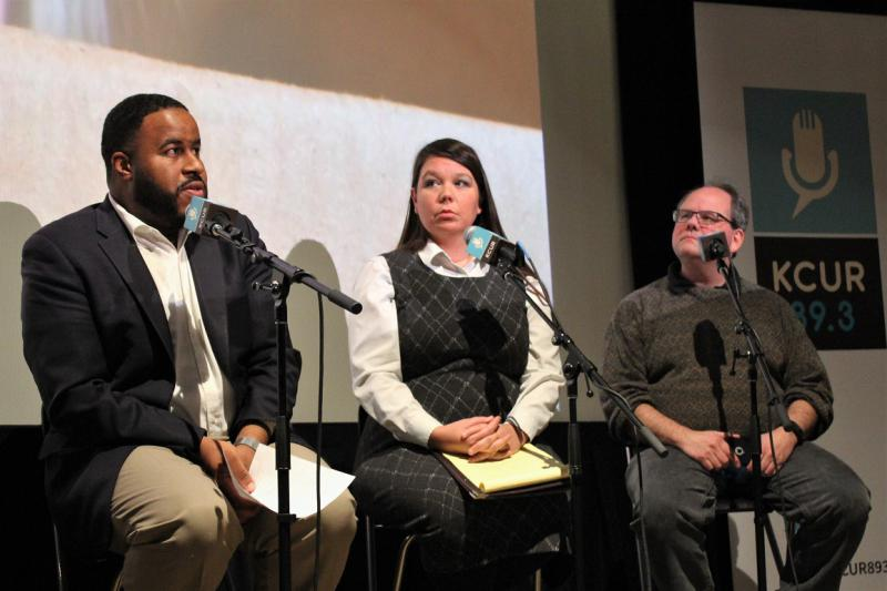 At a KCUR event on Tuesday in Kansas City, Missouri Rep. DaRon McGee, left, Kansas Rep. Stephanie Clayton, center, and Emporia State University political science professor Michael Smith discussed Pres. Donald Trump's first State of the Union speech.