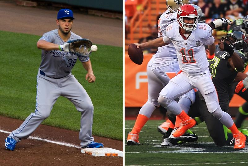 Fans are speculating that Royals first baseman Eric Hosmer, right, and Chiefs quarterback Alex Smith might be making their way off the Kansas City sports stage.