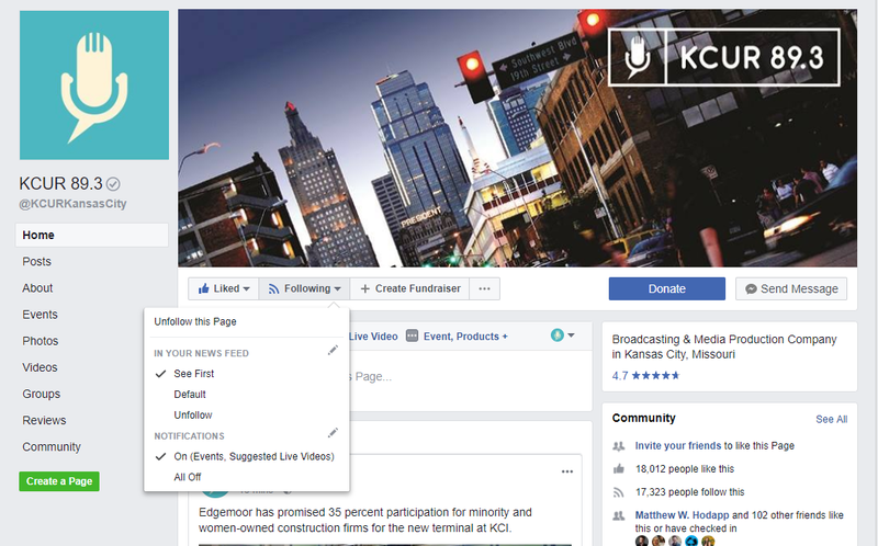 Facebook is changing its News Feed algorithm again, but there's an easy way to keep getting KCUR's content every day.