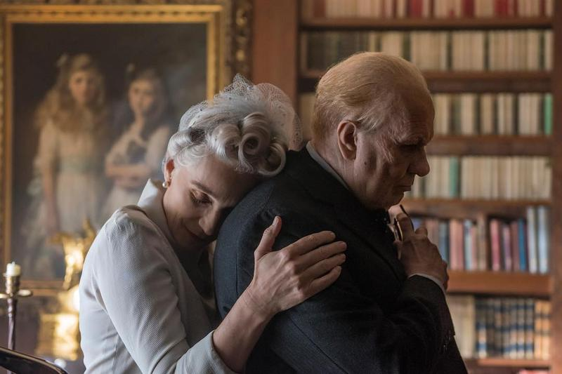 "Kristin Scott Thomas and Gary Oldman play Clemintine and Winston Churchill, respectively, in 'Darkest Hour,' which follows the prime minister as he decides whether to negotiate with Nazi Germany, or ""fight them on the beaches."""