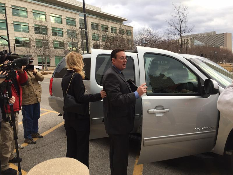Former Jackson County Executive Mike Sanders shown Friday afternoon after entering a plea of guilty to conspiracy to commit wire fraud.