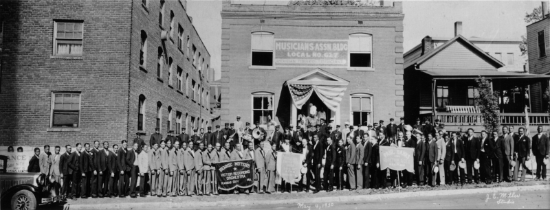 A photograph taken on May 4, 1930, at the dedication of the Local 627 Colored Musicians Union headquarters at 1823 Highland (now the Mutual Musicians Foundation) inspired Dawayne Gilley's future photo shoots.