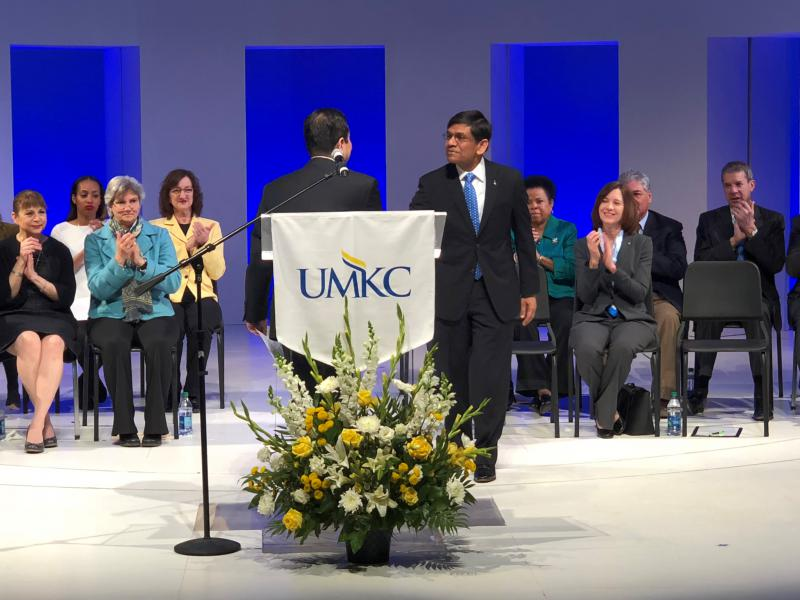 UM System President Mun Choi greets C. Mauli Agrawal, chancellor-designate at UMKC. Agrawal met Friday with UMKC students, faculty and staff. He starts June 20.