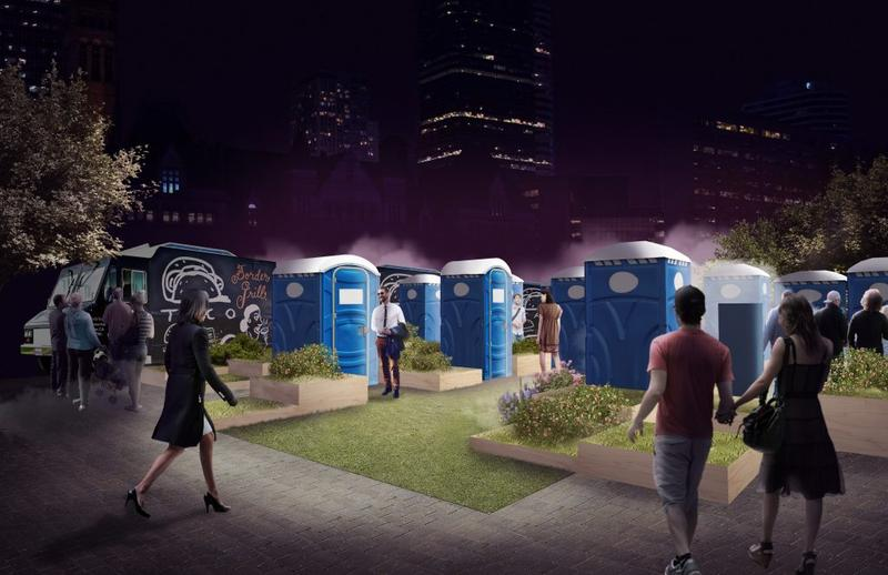 A rendering of 'Porta-party,' by a design collective at the University of Waterloo, envisions the need to take care of business as a normal part of any celebration.